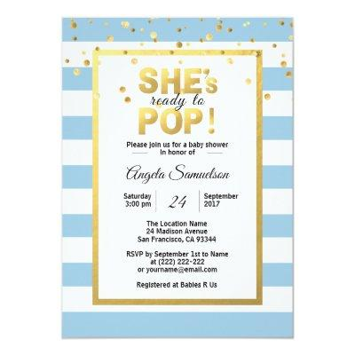 Modern She's Ready to POP Gold BOY Baby Shower Invitations