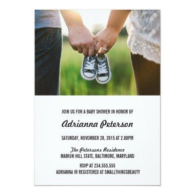 Modern Simple Baby Shower Couple Photo Invitations
