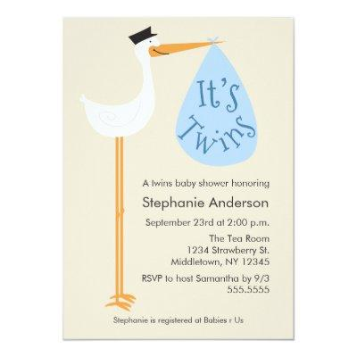 Modern Stork Baby Shower Invitation - Twin Boys