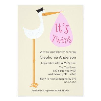 Modern Stork Invitations - Twin Girls