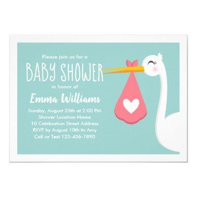 Modern Stork Bird Cute Baby Shower Invitations