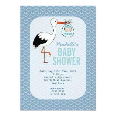 Stork Baby Boy Shower Invitation Baby Shower Invitations – Stork Party Invites