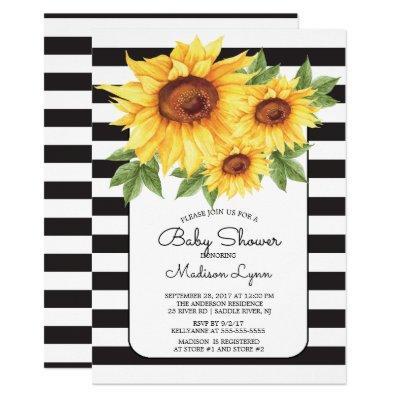 Modern Stripe Sunflower Baby Shower Invitations