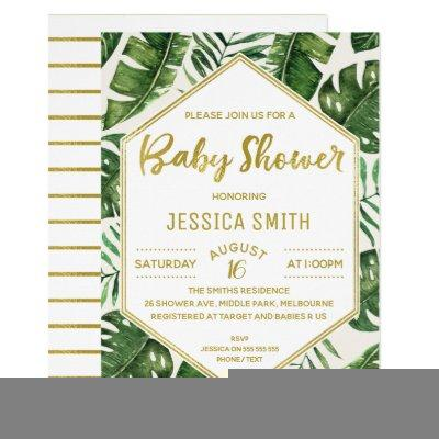 Modern Tropical Foliage Baby Shower Invitations