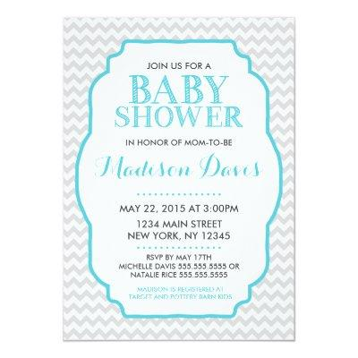 Modern Turquoise and Gray Chevron Baby Shower Invitation