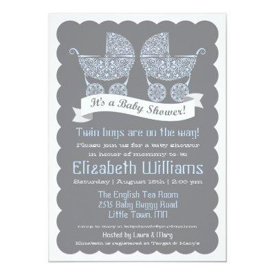 Modern Twin Boys Baby Shower Invitation
