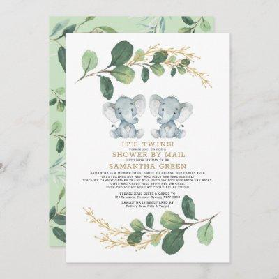 Modern Twin Elephant Greenery Baby Shower By Mail Invitation