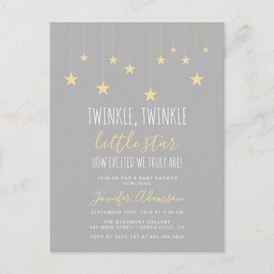 Modern Twinkle Little Star Baby Shower Invitations Postcard