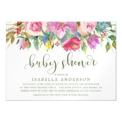 Modern Typography | Floral Watercolor Baby Shower Magnetic Invitation