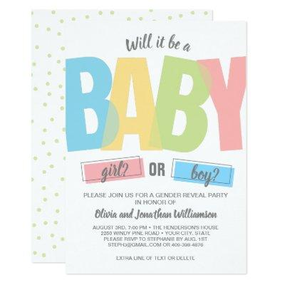 Modern Typography Gender Reveal Baby Shower Party Invitation