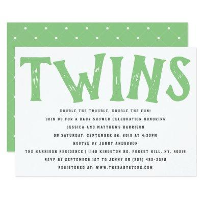 Modern Typography Neutral Twins Baby Shower Invitation