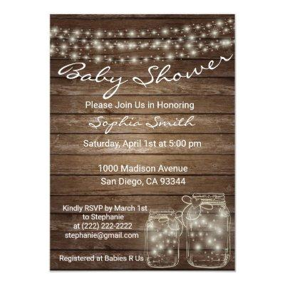 Modern Unique Wood Rustic Mason Jar Baby Shower Invitation