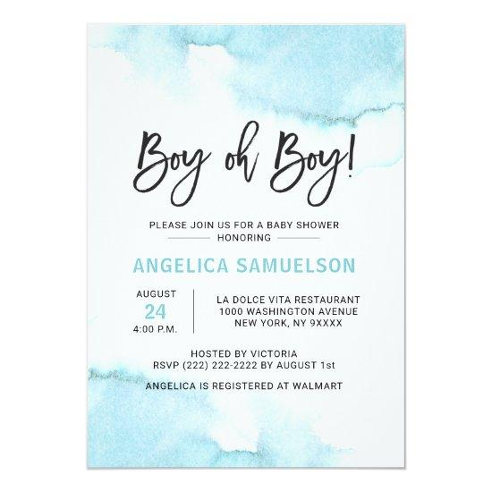 Modern Watercolor Blue BOY Oh BOY Baby Shower Invitation