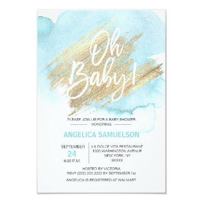 "Modern Watercolor Blue Gold Oh Baby Shower "" Invitations"