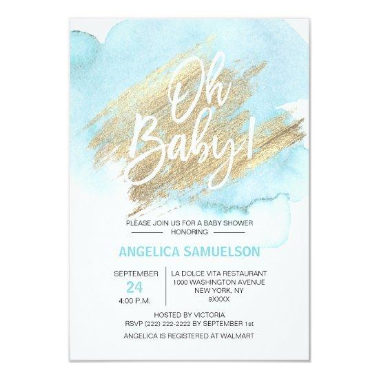 Modern Watercolor Blue Gold Oh Baby Shower Card