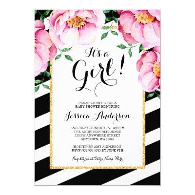 Modern Watercolor Floral Stripes Girl