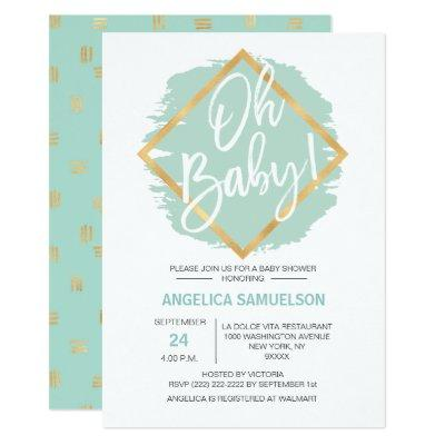 Modern Watercolor Mint Green Gold Oh Baby Shower Invitation