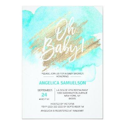 Modern Watercolor Mint Green Gold Oh Baby Shower Invitations