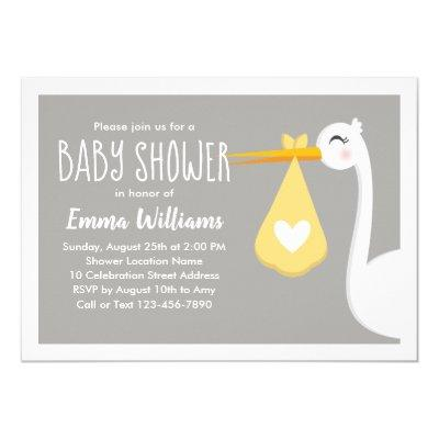 Modern Yellow Gray Stork Bird | Cute Baby Shower Invitation