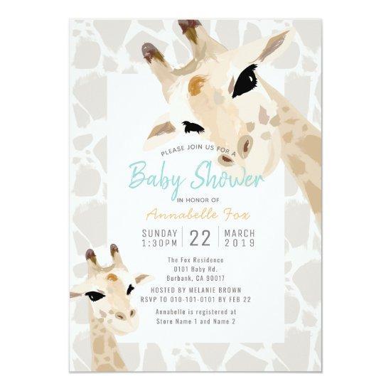 Mom & Baby Giraffe Greige Watercolor Baby Shower Invitation