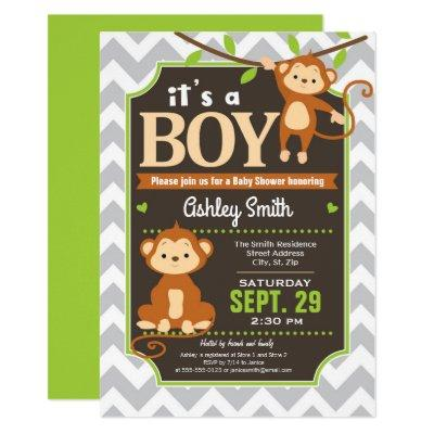 Monkey Baby Shower Invitation Boy