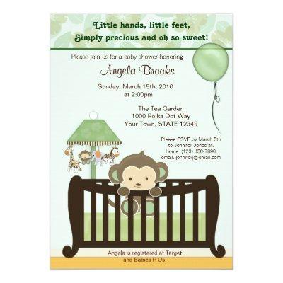 Monkey Baby Shower Invitations CJ GREEN
