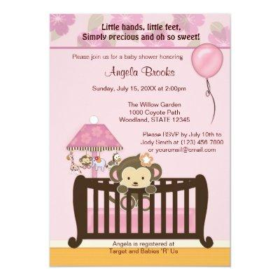 Monkey Invitations CJ PINK