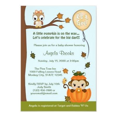 MONKEY Invitations Fall Pumpkin GIRL