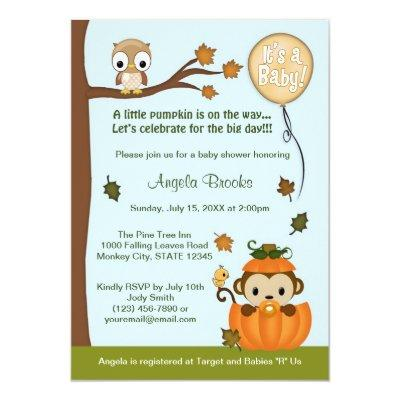 MONKEY Baby Shower Invitations Fall Pumpkin NEUTRAL