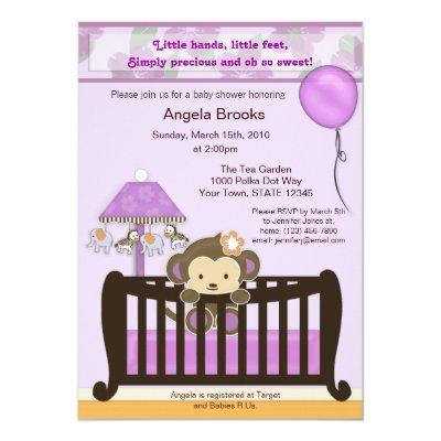 Monkey Baby Shower Invitation Lavender CJL