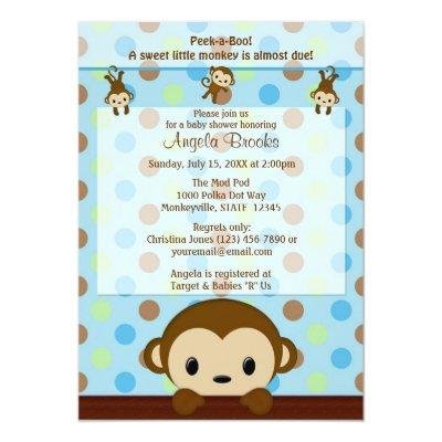 MONKEY Invitations Polka Dot BLUE GREEN