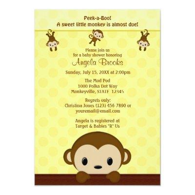 MONKEY Invitations Polka Dot YELLOW MPP