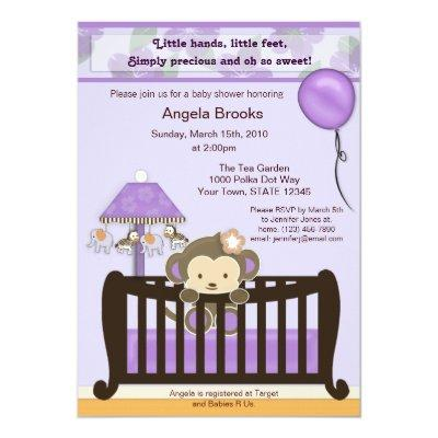 Monkey Invitations Purple