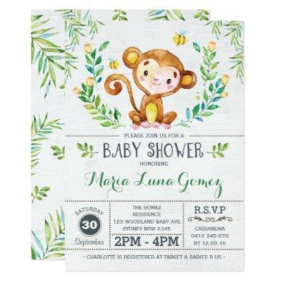 Monkey Baby Shower Jungle Baby Boy Invitations