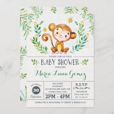Monkey Baby Shower Jungle Baby Boy Invitation