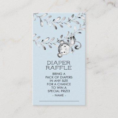 Monkey Boys Baby Shower Diaper Raffle Ticket Enclosure Card