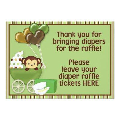 Monkey Carriage Grn Baby Shower Diaper Raffle Sign Invitation