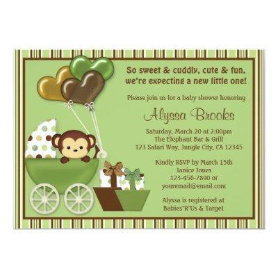 Monkey Carriage v1 Green Invitations