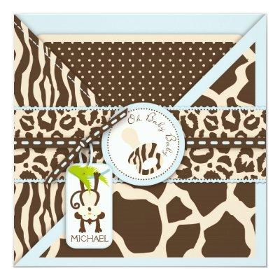 Monkey Pacifier Safari Jungle Baby Shower Invitation