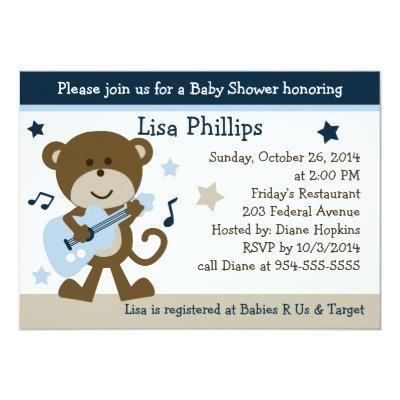 Monkey Rocker Rockstar Invitations