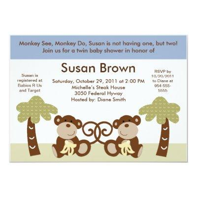 Monkey Time Twin Baby Boys Shower Invitation