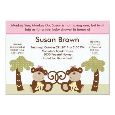 Monkey Time Twin Baby Girls Shower Invitation