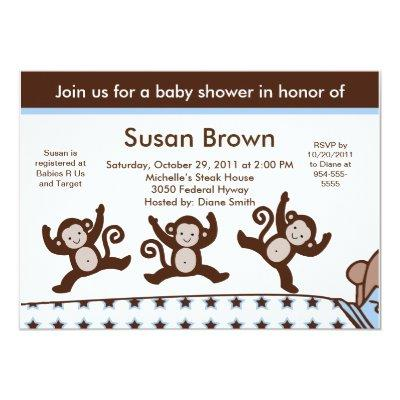 Monkeys Jumpin on the Bed Baby Shower Invitation