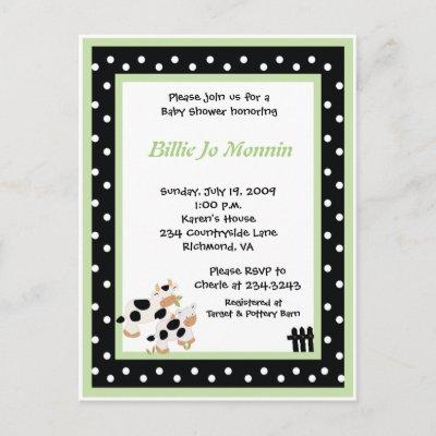 Moo Cow Black white Green Baby Shower Invitations