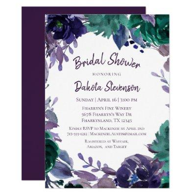 Moody Boho | Eggplant Purple Brush Bridal Shower Invitation