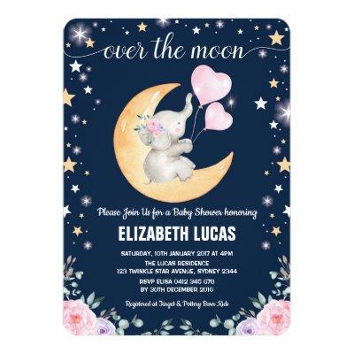 Moon Baby Shower / Girly Elephant Twinkle Star Invitation
