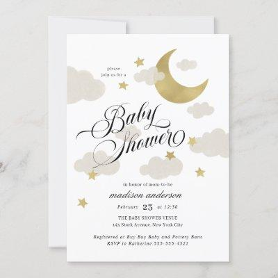 Moon, Stars, and Clouds Fancy Script Baby Shower