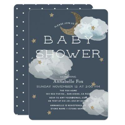 Moon, Stars & Clouds Navy Baby Shower Invitation
