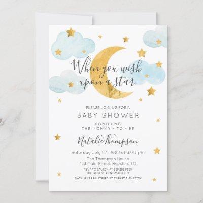 Moon & Stars theme Baby Shower Invitation