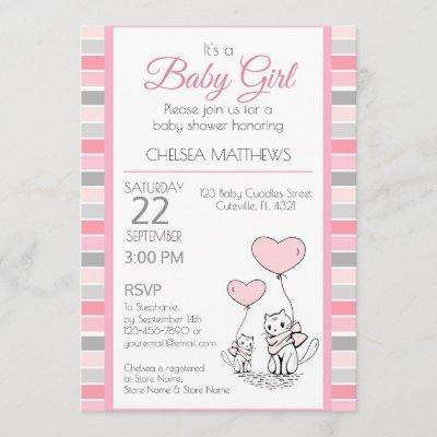 Mother and Baby Cat with Hearts Invitation